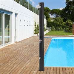 Solardusche 35L, schwarz, mit Fußdusche und Regenduschkopf, aus PVC und ABS verchromt
