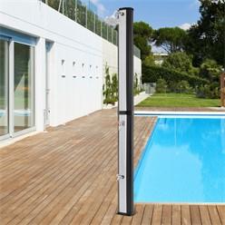 Solardusche 35L, silber/schwarz, mit Fußdusche und Regenduschkopf, aus PVC und ABS verchromt
