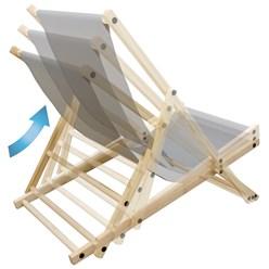 Liegestuhl klappbar, hellgrau, bis 120kg, aus Holz mit 3 Liegepositionen