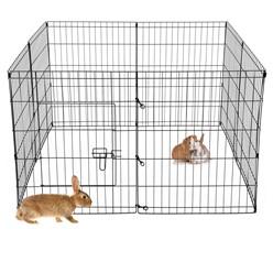 Freilaufgehege aus 8 Gittern für Kleintiere, 124x76x124 cm, aus Metall pulverbeschichtet