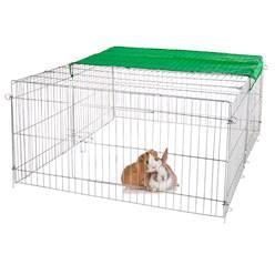 Freilaufgehege für Kleintiere mit Sonnenschutz, 144x60x113 cm, aus Metall verzinkt