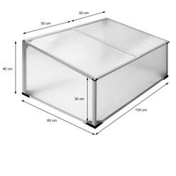 Frühbeet 100x60x40 cm, mit Aluminium Rahmen, aus Polycarbonat
