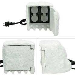 Außensteckdose in Steinoptik Weiß