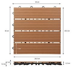 11er Set fü 1m², Terrassenfliesen 30x30 cm, hellbraun, aus WPC