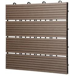 11er Set für 1m², Terrassenfliesen 30x30 cm, dunkelbraun, aus WPC