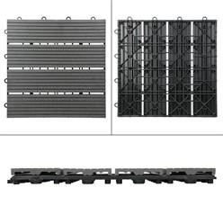 11er Set für 1m², Terrassenfliesen 30x30 cm, anthrazit, aus WPC