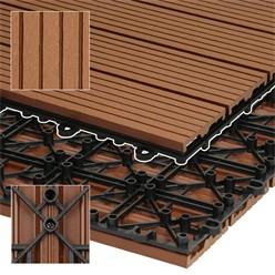 6er Set fü 1m², Terrassenfliesen 60x30 cm, hellbraun, aus WPC