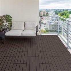 6er Set für 1m², Terrassenfliesen 60x30 cm, dunkelbraun, aus WPC