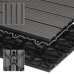 6er Set für 1m², Terrassenfliesen 60x30 cm, anthrazit, aus WPC