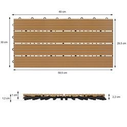 6er Set für 1m², Terrassenfliesen 60x30 cm, teak, aus WPC