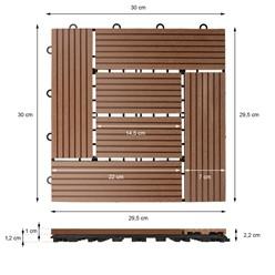 11er Set für 1 m², Terrassenfliesen 30x30 cm, hellbraun, aus WPC