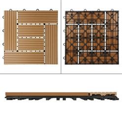 11er Set für 1m², Terrassenfliesen 30x30 cm, teak, aus WPC