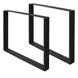 2er Set Tischbeine schwarz, 90x72 cm, aus pulverbeschichteter Stahl