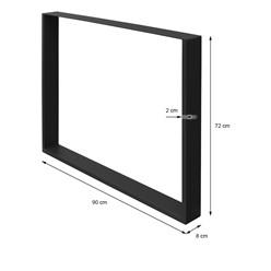 2er Set Tischbeine 90x72 cm, Schwarz, aus pulverbeschichtetem Stahl