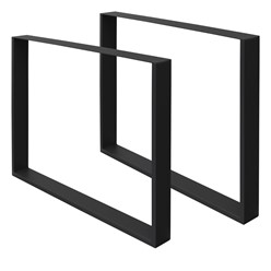 2er Set Tischbeine schwarz, 80x72 cm, aus pulverbeschichtetem Stahl