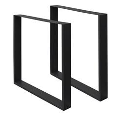 2er Set Tischbeine schwarz, 60x72 cm, aus pulverbeschichtetem Stahl