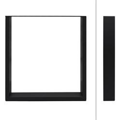 2 Stücke Tischbeine 60 x 72 cm, Schwarz, aus pulverbeschichteter Stahl