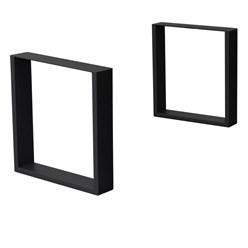 2 Stücke Tischbeine 40 x 43 cm, Schwarz, aus pulverbeschichteter Stahl