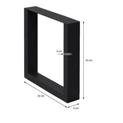 2er Set Tischbeine schwarz, 30x43 cm, aus pulverbeschichtetem Stahl
