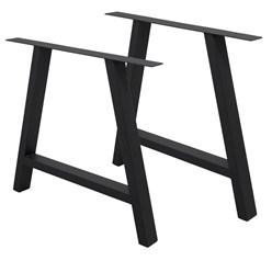2er Set Tischbeine A-Design schwarz, 70x72 cm, aus pulverbeschichtetem Stahl