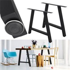 2 Stücke Tischgestell A-Design, Schwarz, aus pulverbeschichtetem Stahl