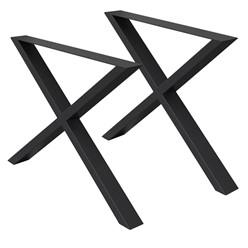 2er Set Tischbeine X-Design, schwarz, 60x72 cm, aus pulverbeschichtetem Stahl