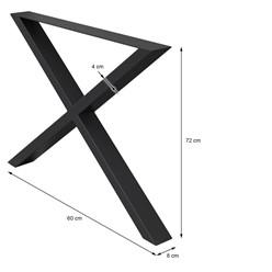 2 Stücke Tischgestell X-Design, Schwarz, aus pulverbeschichtetem Stahl