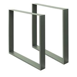 2er Set Tischbeine 70x72 cm, Steingrau, aus pulverbeschichtetem Stahl