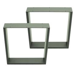 2er Set Tischbeine 40x43 cm, Steingrau, aus pulverbeschichtetem Stahl