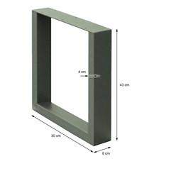 2er Set Tischbeine steingrau, 30x43 cm, aus pulverbeschichtetem Stahl