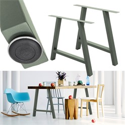 2er Set Tischbeine A-Design, Steingrau, aus pulverbeschichtetem Stahl