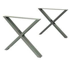 2er Set Tischbeine X-Design, Steingrau, aus pulverbeschichtet Stahl
