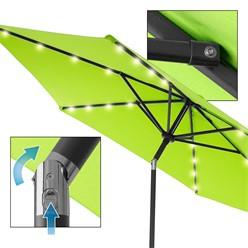 Sonnenschirm mit LED-Solar inkl. Kurbel, grün, Ø 300 cm, aus Aluminium und Polyester