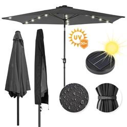 Sonnenschirm anthrazit mit LED-Solar, Ø300 cm, Rund, mit Kurbel inkl. Abdeckung