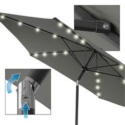 Sonnenschirm mit LED-Solar und Kurbel, anthrazit, Ø 300 cm, aus Aluminium und Polyester