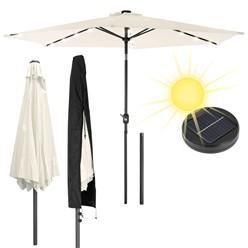 Sonnenschirm 3m Creme mit LED + Abdeckung