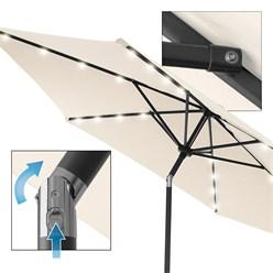 Sonnenschirm mit LED-Solar und Kurbel, creme, Ø 300 cm, aus Aluminium und Polyester