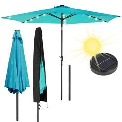 Sonnenschirm türkis mit LED-Solar, Ø 300 cm, Rund, mit Kurbel inkl. Abdeckung
