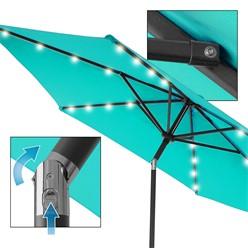 Sonnenschirm mit LED-Solar und Kurbel, türkis, Ø 300 cm, aus Aluminium und Polyester