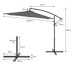 Ampelschirm anthrazit, Ø 300 cm, Rund, inkl. Kurbel und Standfuß