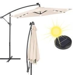 Ampelschirm mit LED-Solar und Kurbel, creme, Ø 300 cm, aus Aluminium und Polyester