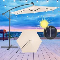Ampelschirm mit LED-Solar, creme, Ø 300 cm, mit Kurbel inkl. Abdeckung
