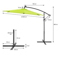 Ampelschirm mit LED-Solar und Kurbel, grün, Ø 300 cm, aus Aluminium und Polyester