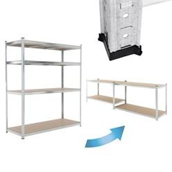 Werkstattregal silber, 180x160x60 cm, aus verzinktes Metall und MDF Holzfaserplatte, bis 1000 kg