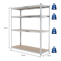 Werkstattregal silber, 180x160x60 cm, aus Metall verzinkt und MDF Holz, bis 280 kg