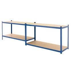 Werkstattregal blau, 180x160x60 cm, aus pulverbeschichtem Metall und MDF Holz, bis 280 kg