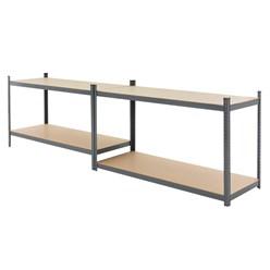 Werkstattregale anthrazit, 180x160x60 cm, aus pulverbeschichtem Metall und MDF Holz, bis 280 kg