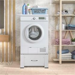 Waschmaschinen Untergestell mit Schublade weiß, 54.5x63x32.5 cm, aus Stahl