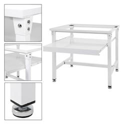 Waschmaschinen Untergestell mit ausziehbarer Ablage weiß, 60x57x54 mm, aus Stahl