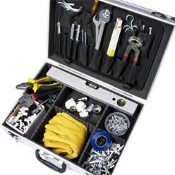 Werkzeugkoffer leer 45.5x15.5x33 cm, mit Metallverschlüssen nabschließbar, aus Aluminium